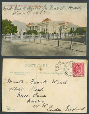 South Africa 1908 Old Hand Tinted Postcard Cape Town Parliament House The Avenue