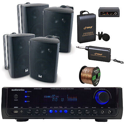 "Stereo Receiver Amplifier, 4"" Box Speakers, Wireless Microphone System, Wire"