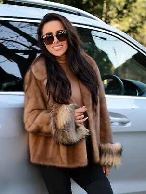 New Pastel Saga Mink Real Fur Jacket Fox Clas Of Sable Chinchilla Coat Vest Long