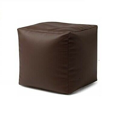 Faux Leather Bean Bag Cube  - Bean Bag Pouffe Seat / Foot stool Cover - Brown