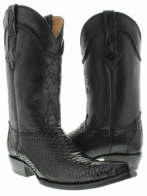 Mens Python Snake Skin Genuine Leather Cowboy Boots Pointed Toe Size 6.5 Black