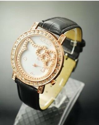 55ce3af6a Sanrio Hello Kitty Black Leather Rose Gold Rhinestone Stainless Steel Back  Watch