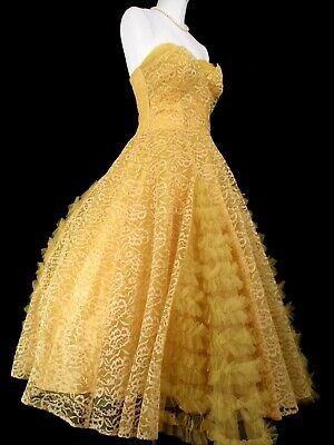 3cbcdbb724 1950 s TULLE PROM DRESS Formal Gold Yellow 50 s Vintage Bolero Jacket Gown  XS S