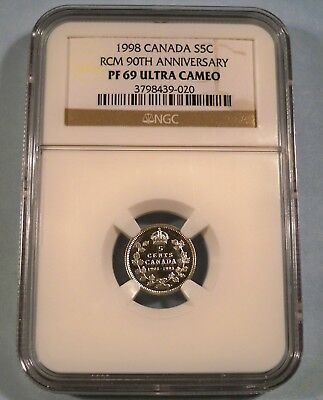 1998 5c CANADA NGC PF 69 ULTRA CAMEO SILVER QUARTER PROOF 90th ANNIVERSARY RCM