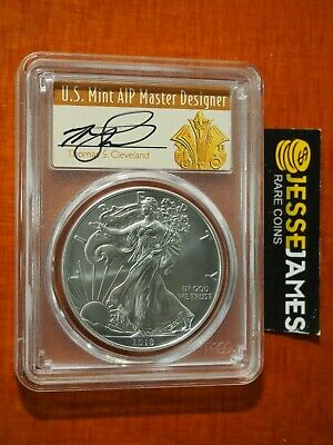 2018 W Burnished Silver Eagle Pcgs Sp70 Cleveland Artdeco First Day Issue Denver