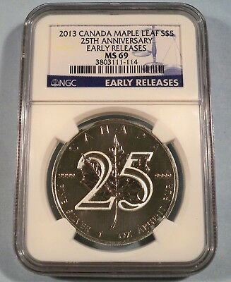 2013 CANADA SILVER MAPLE LEAF 25th ANNIVERSARY NGC MS69 S$5 1 OZ SILVER