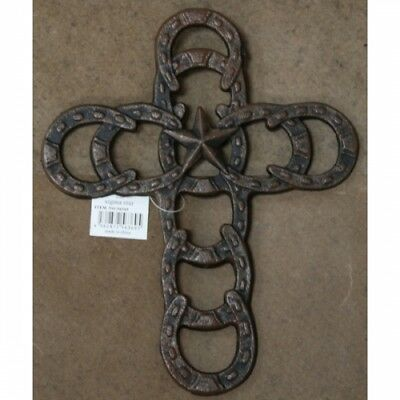 """Cast Iron 10.5"""" Horseshoe Wall Cross With Star In the Middle Western Decor"""
