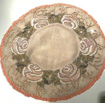 Antique Embroidered Society Silk Roses On Burlap Large Centerpiece Doily 14 Inch