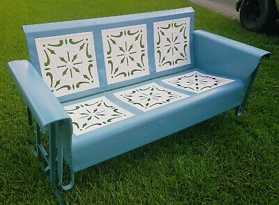 Awesome Rare Htf Vintage Bunting Metal Front Porch Glider Swing Bralicious Painted Fabric Chair Ideas Braliciousco