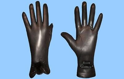 NEW WOMENS size 8 XL BLACK LEATHER GLOVES WITH MINK FUR ACCENTS - FREE SHIPPING