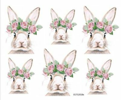 VinTaGe IMaGe BuNNieS WiTH RoSeS SHaBbY WaTerSLiDe DeCALs