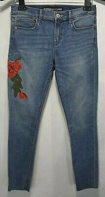 ba4b15b323cc8 2357 Express Embroidered Cut-Off Mid Rise Stretch Ankle Legging Jeans Sz 8  Blue
