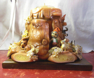 RARE Vintage Forest Animal Tree Trunk Fairytale Wax CANDLE Retro Storybook Elf