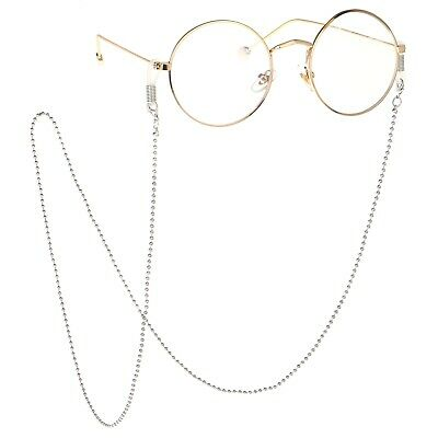 Eyeglass Cord Reading Glasses Eyewear Spectacles Neck Silver Beads Chain Holder