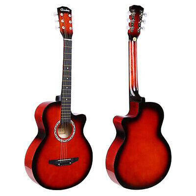 "Red Acoustic Classic Guitar 3/4 Size 38"" Beginner Adult Student 6 String UK"