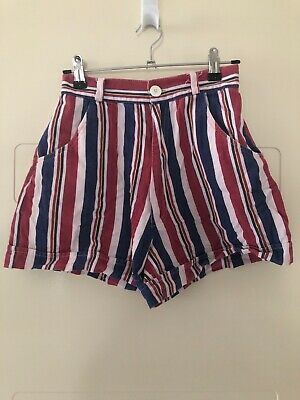 VINTAGE 90s Size 6 High Waisted Striped Shorts