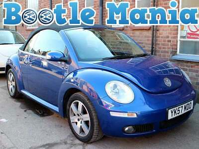 2007 VW Beetle 1.6 Luna Convertible Blue Black Hood AC Alloy 74,000 Full Service