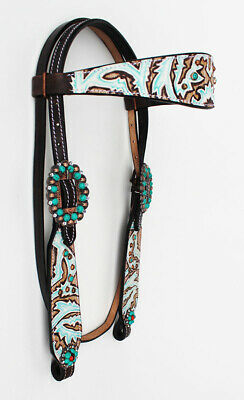 Horse Tack Bridle Western Leather Headstall Brown Tooled Brown Turquoise 80226HB