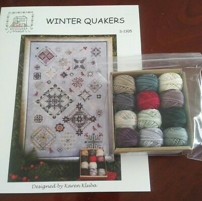 Winter Quakers Cross Stitch Chart & Valdani Thread Rosewood Manor Ready To Ship