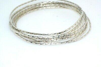 7pc Spiral Sterling Silver Slip On Bangle Bracelet Lot Vintage