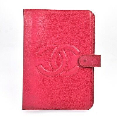 Auth CHANEL Quilted Logos Notebook Cover Caviar Skin Leather PI Vintage O00982c