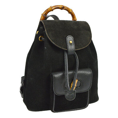d8d0de20aea Auth GUCCI Bamboo Backpack Hand Bag Black Suede Leather Italy Vintage  AK25143c