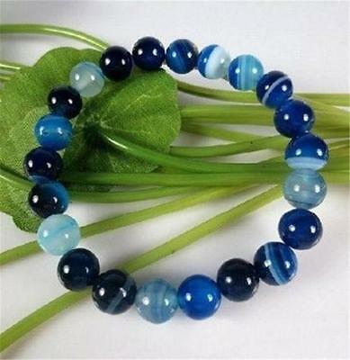 "10Mm Antique Art Deco Genuine Rare Blue Chalcedony Agate Beads Bracelet 7.5"" Aaa"