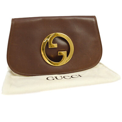 67309d83b0c Authentic GUCCI GG Logos Clutch Hand Bag Brown Leather Italy Vintage GHW  A40759h