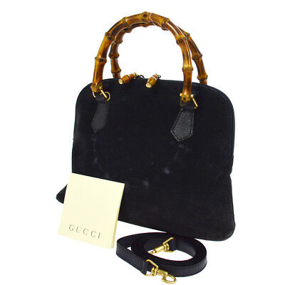 ac3f13e240 Authentic GUCCI Bamboo Handle 2way Hand Bag Navy Suede Italy Vintage  AK25463b