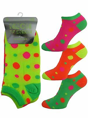 3 Girls Ladies Kids Neon Fashion Trainer Liner Socks / Spots / UK 4-6