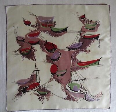 Vintage scarf Abstract Boats by FRANCESCA scarf 68 x 68 cm
