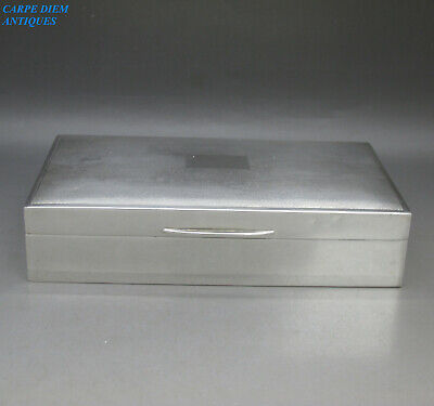 VINTAGE GOOD QUALITY SOLID STERLING SILVER CIGARETTE BOX, 335g BIRMINGHAM 1969