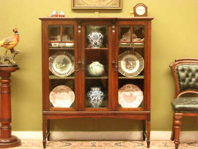 UNUSUAL ANTIQUE MAPLE 3 DOOR DISPLAY / CHINA CABINET ~ BEVELLED GLASS  c1900s