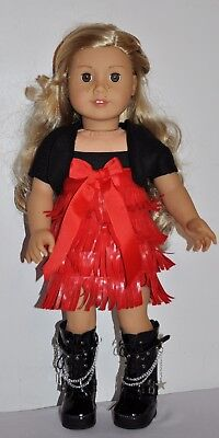 American Made Doll Clothes For 18 Inch Girl Dolls Dress  Lot- Red Fringe Dress
