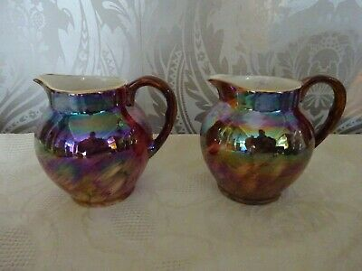 Vintage retro Pair of Old Court Ware Lustre Jugs 9cm Tall