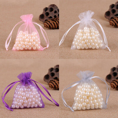 50X Small White Organza Bags Wedding Favours Pouches Net Jewellery Bag 10X15cm