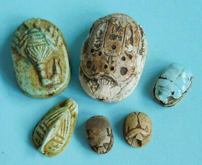 6X Genuine Ancient Egypt Scarab Ibis Scorpion Faience Amulets