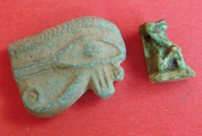 Ancient Egyptian Late period faience Eye of Horus & Baboon Amulets Egypt