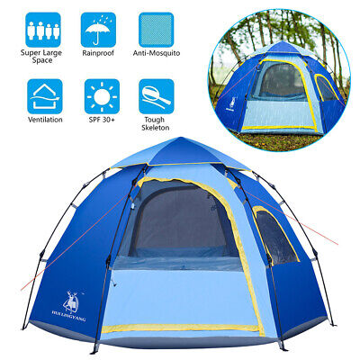 Camping Instant Pop Up Tent Family Outdoor Dome Tent 4-6 Person Waterproof Beach