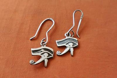 Amazing Egyptian Solid Sterling Silver Earrings Ancient Eye of Horus..Protection