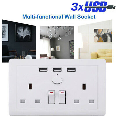 Double Wall 2 Gang Socket with 3 USB Ports Fast Charger Plug Outlet Switch Plate