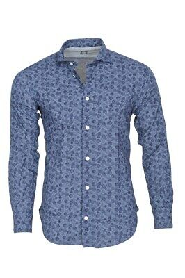 Eleventy Shirt Men's 43 Blue  Egyptian cotton  Slim Fit Floral