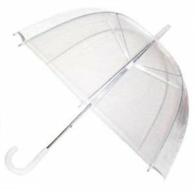 Clear See Through Dome Umbrella Ladies Transparent Walking Rain Brolly Wedding