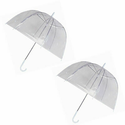 2 Pack Clear See Through Dome Umbrella Ladies Transparent Walking Rain Brolly