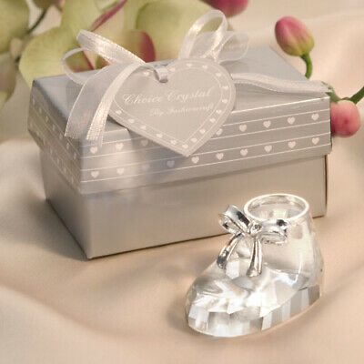 Baby Bootie Favours Choice Clear Crystal Baby Shoe - Favour Ornament Gift Boxed