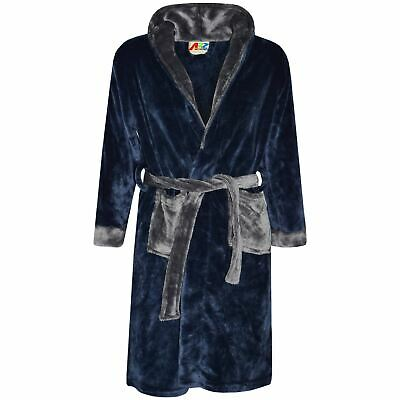 Kids Girls Boys Bathrobes Plain Navy Dressing Gown Night Lounge Wears 2-13 Years