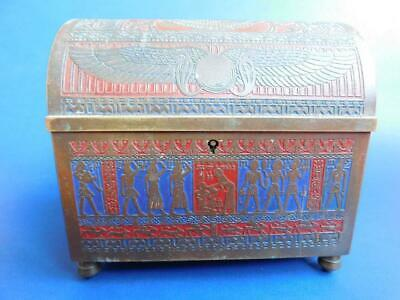 Exquisite Brass 'Ancient Egyptian' Valley of Kings Casket Form Music Box 1900s