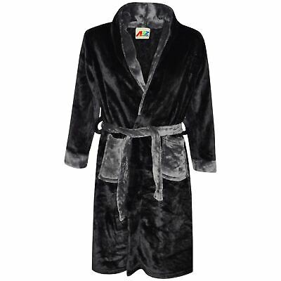 Kids Girls Boys Bathrobe Plain Black Dressing Gown Night Lounge Wears 2-13 Years