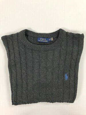 Polo Ralph Lauren Mens Crew Neck Cable Jumper Pullover Grey