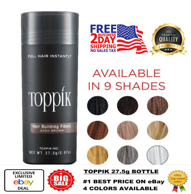 TOPPIK HAIR BUILDING Fibers 27.5g Black DARK BROWN Light Medium Fast Free Ship